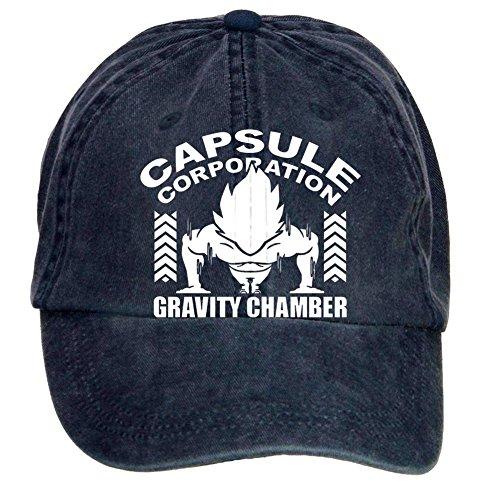(Jidlg Custom Washed Men Cotton Funny Capsule Corp Dragon Ball Z Gravity Chamber Up To 300G Adjustable Sun Visor Baseball Cap Navy)