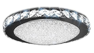 """iLett Crystal Round LED Ceiling Light, Russian Style, 14"""", 18W (75W equivalent), 1440lm, 6000K (Cool White), Compact, 100V-130V."""