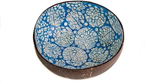 WhimMarket Beautiful Decorative Handmade Vietnamese Lacquered Natural Coconut Shell Bowls with Eggshell, Mother of Pearl, Gold and Silver Leaf Inlay (Blue Circle Mosaic)