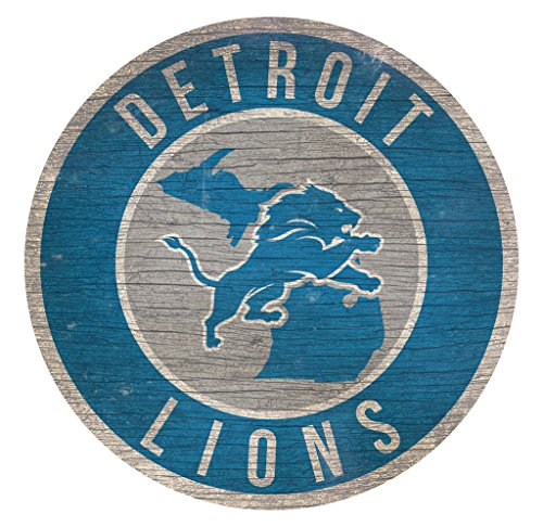 Fan Creations Detroit Lions Wood Sign 12 Inch Round State Design -