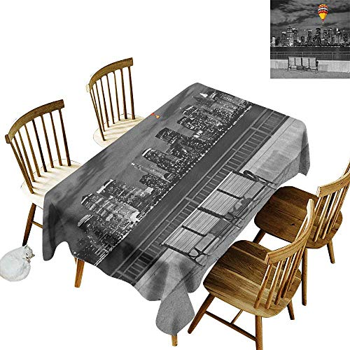 Cranekey Kitchen Rectangular Tablecloth W54 x L90 Black and White NYC Skyline from Liberty State Park with Vibrant Air Balloon in Sky Print Multicolor Great for Family & More