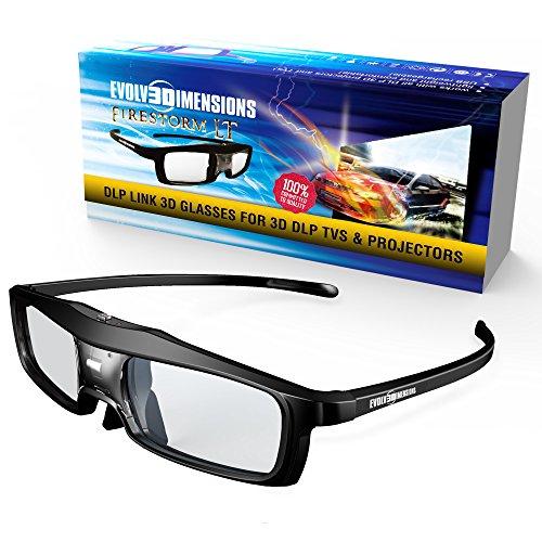 Evolved Dimensions (formerly True Depth 3D) Firestorm LT Lightweight Rechargeable DLP link 3D Glasses for All 3D Projectors (Benq, Optoma, Acer, Vivitek, Dell Etc) and All DLP HD 3D TVs (Mitsubishi, Samsung Etc) Compatible At 96 Hz, 120 Hz and 144 Hz!