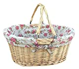 Large Swing Handle Shopper With Garden Rose Lining Wicker Basket