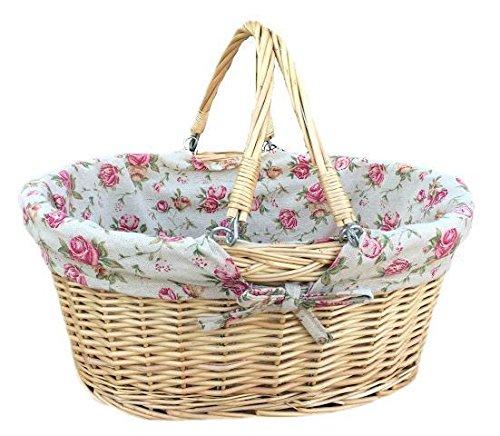 (Large Swing Handle Shopper With Garden Rose Lining Wicker Basket)