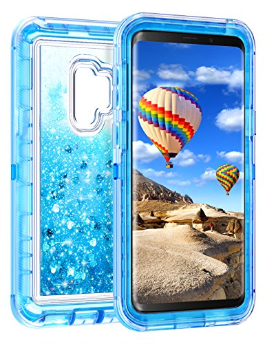 Coolden Case for Galaxy S9 Plus Cases Protective Glitter Case for Women Girls Cute Bling Sparkle Heavy Duty Hard Shell Shockproof TPU Case for 6.2 Inches Samsung Galaxy S9 Plus, Blue