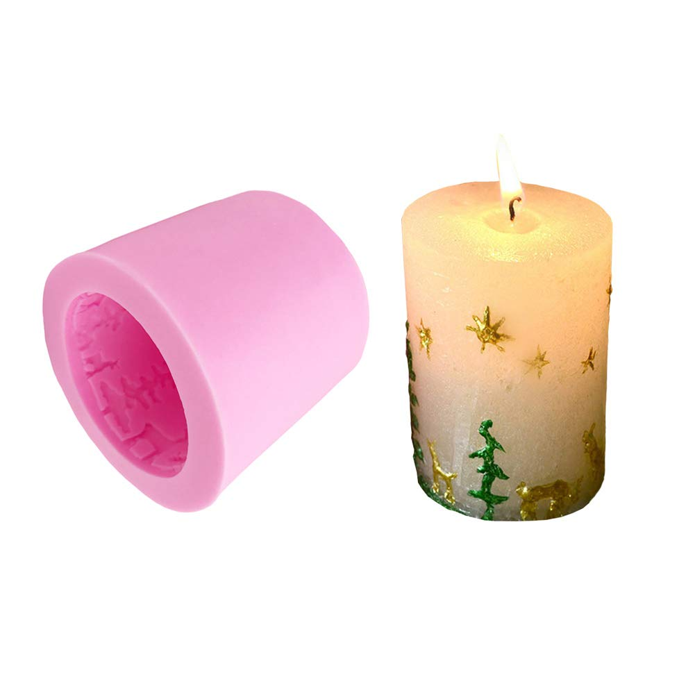 Christmas Candle Molds Silicone DIY Candle Making Supplies Moulds Round Pillar Shape with Embossed Christmas Tree and Elk Reindeer Pattern