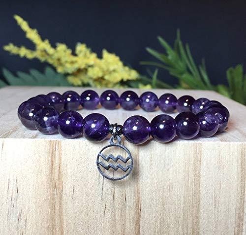 Aquarius Zodiac Bracelet, Amethyst Bracelet, Aquarius Gemstone Bracelet, Aquarius Astrology Bracelet, Gift For Her, Gift For Him