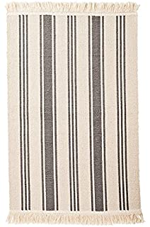 Ikea Flatwoven Area Kitchen Rug Stripes Cotton Gray Natural Throw Mat