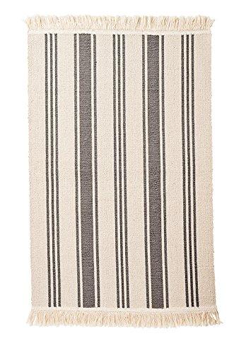 Ikea Flatwoven Area Kitchen Rug Stripes Cotton Gray Natural Throw Mat ()