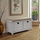 Modern Shaker Wood Upholstered Storage Bench with 2 Shelves - Includes Modhaus Living Pen (White)