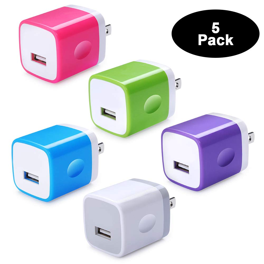 Single Port USB Wall Charger, NINIBER 5-Pack Charging Block Box Cube Brick Base Adapter Compatible iPhone XR XS Max X 8 6 6s 5s 5 6 7 SE 5C Plus iPad Samsung Galaxy S6 LG Sony Motorola OnePlus Google by NINIBER
