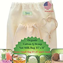Nut Milk Bag -Organic Cotton & Hemp Fine Mesh More Durable Than Nylon- Large Reusable Food Filter- Best Sprouting Seeds and Cheese Maker- Hot and Cold Brew Tea and Juice Strainer- Fits Vitamix & Blendtec Blenders- Bonus Storage Bag