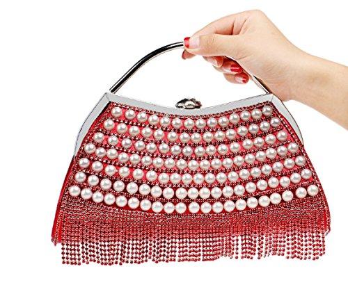 Elegante Dama Borlas Con Bolso Noche Salvaje Red Exquisito Diamantes De Wybxa Incrustaciones Vestido xIHB4w