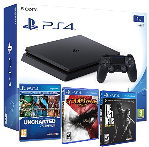 Playstation-4-Consola-PS4-Slim-1Tb-5-Juegos-The-Last-of-us-God-of-war-3-Uncharted-Nathan-Drake-Collection