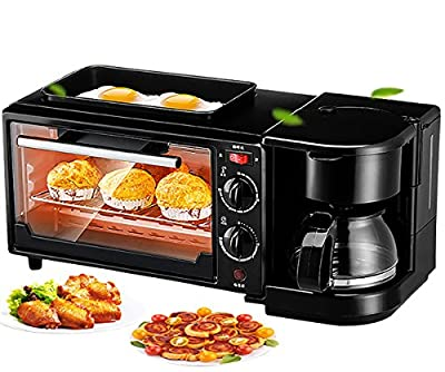 Smart toaster convection oven with bakerwear fry pan and coffee machine ,baking set breakfast machine,three in one breakfast station,kitchen aid Cooking Functions, Stainless Steel/Black (Oven)
