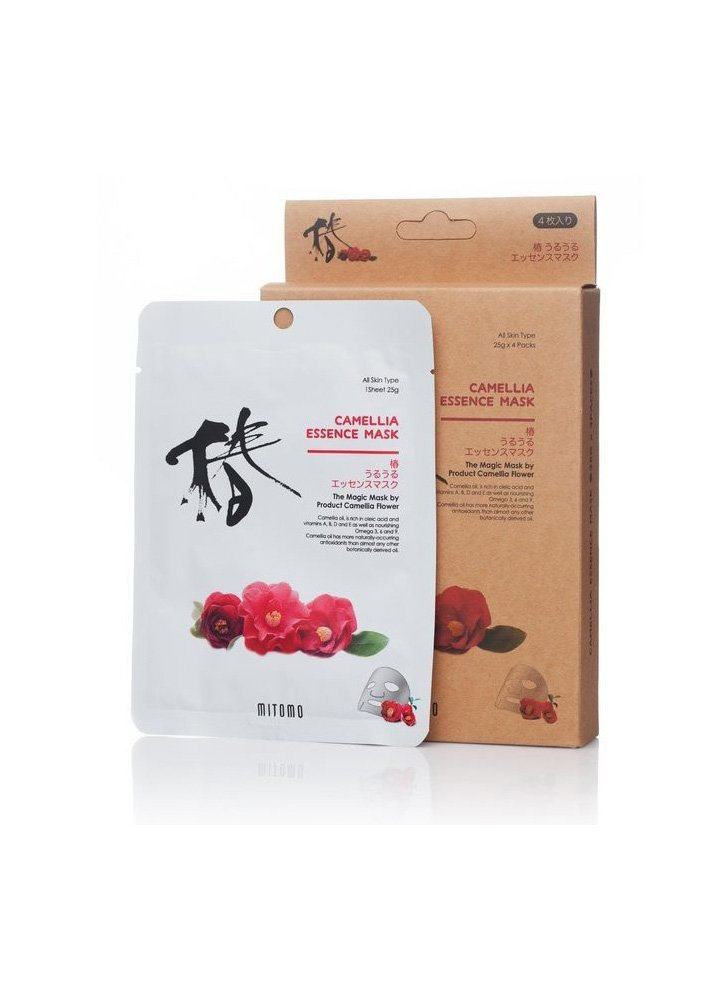 MITOMO Uruuru Face Sheet Mask High Quality. Made in Japan. Pack of 4 (25g x 4) (Camellia) by MITOMO