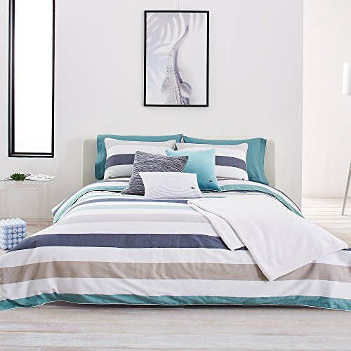 Lacoste Bailleul Aqua and Khaki Striped Brushed Twill Comforter Set, King (Khaki King Comforter Set)