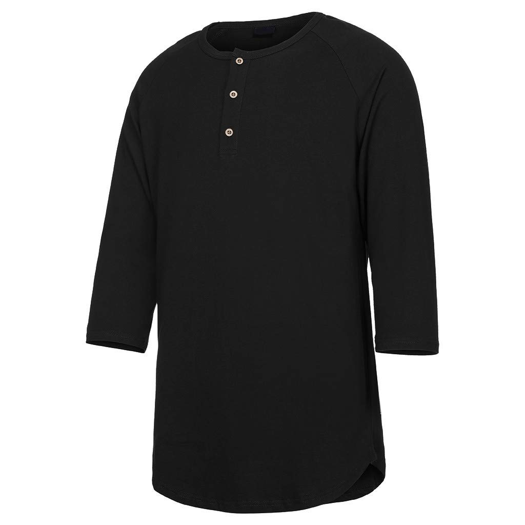 Bsjmlxg Mens Summer Personal Casual Sport Pure Seven-Sleeve T-Shirt Pure Dressed Blouse Top