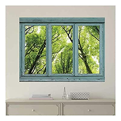 Made With Top Quality, Stunning Expert Craftsmanship, Vintage Teal Window Looking Out Into a Green Forest Wall Mural