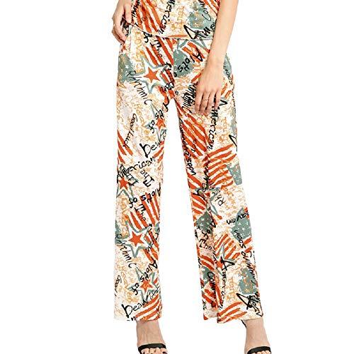 Zhrui Pantaloni Larghi Donna Pantaloni Floreali Multicolore