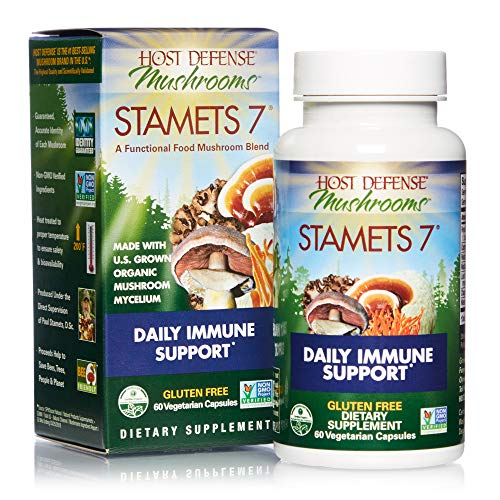 Host Defense, Stamets 7 Capsules, Daily Immune Support, Mushroom Supplement with Lion's Mane, Reishi, Vegan, Organic, 60 Capsules (30 Servings)