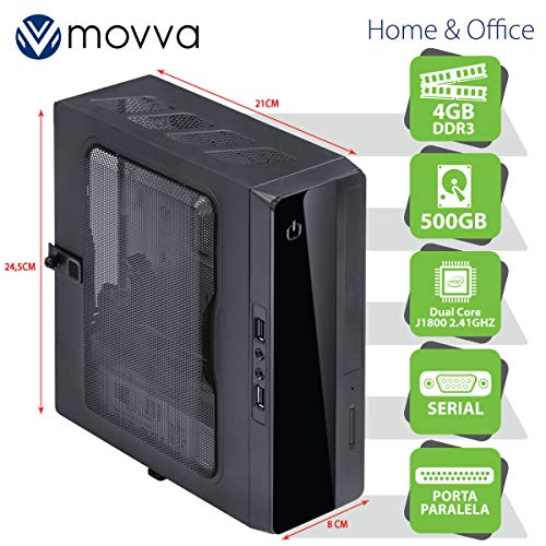MINI COMPUTADOR LITE INTEL DC J1800 2.41GHZ MEM. 4GB HD 500GB 1X PORTA PARALELA 1X PORTA SERIAL - FONTE 130W - LINUX - MOVVA