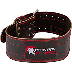 medium size 4 inch leather weight lifting belt for men and women with a 1 single 2 prong buckle latch clip back support during crossfit powerlifting weightlifting fitness gym workout training squats