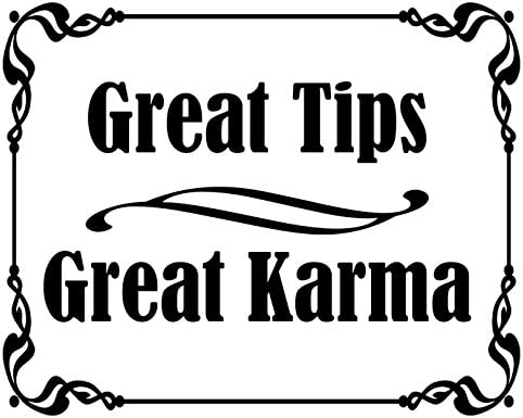 American Vinyl White Great Tips Great Karma Sticker Tipping jar Accept Cafe bar Bartender