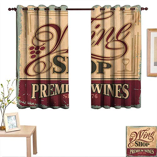 Vintage Blackout Draperies for Bedroom Vintage Rusty Pop Art Style Sign for Wine Shop Past Time Adds Bohemian Art Print 63