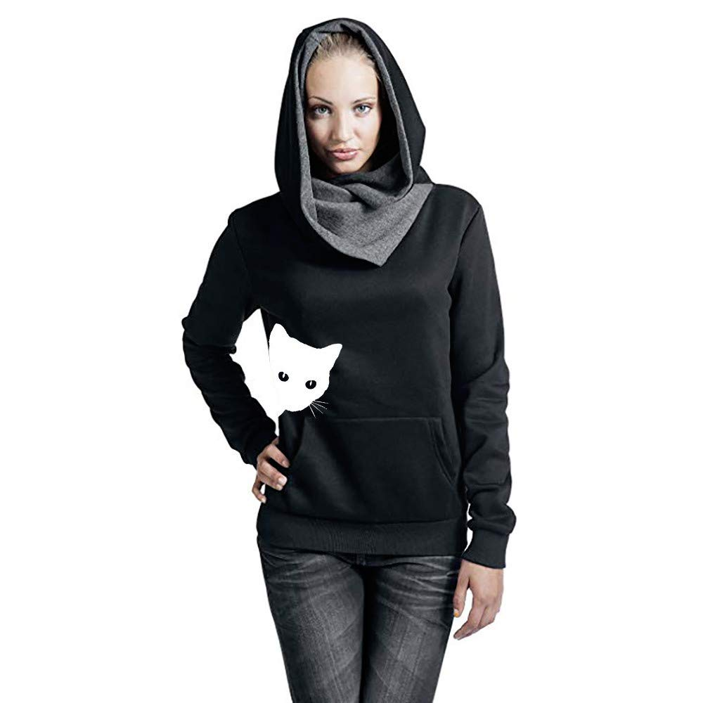 POCCIOL Womens Girls Lovely I Am a Cat Hooded Long Sleeve Cotton Sweatshirt Casual Hoodie Sport Pullover Tops
