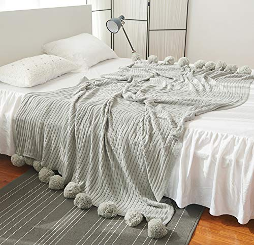 SANILE Pompom Cable Knitted Cotton Winter Throw Blankets 3 Sizes 5 Colors(39