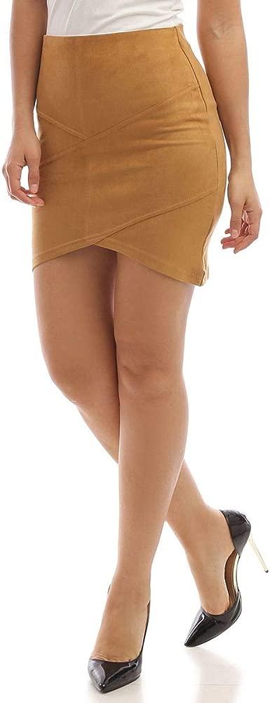 La Modeuse - Falda de Ante asimétrica marrón Claro M/L: Amazon.es ...