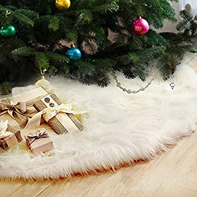 Fannybuy 48inch Christmas Tree Skirts Plush Faux Fur Tree Skirt Decoration for Xmas Party Decoration