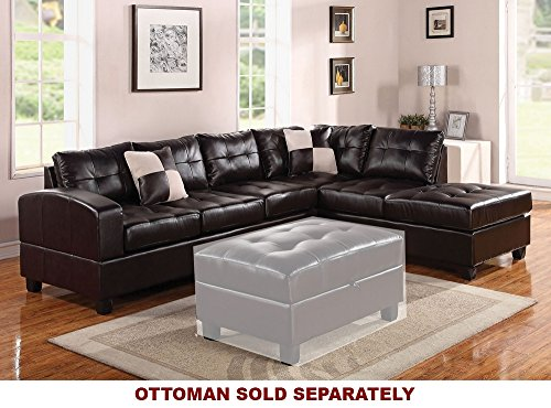ACME Kiva Espresso Bonded Leather Reversible Sectional Sofa with 2 (Espresso Leather Sectional Sofa)