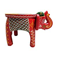 Giant Roots Traditional Artistic Colourful Wooden Elephant Stool Handicraft Gift Baby Sitter