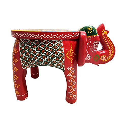 Artistic Wooden Elephant (Giant Roots Traditional Artistic Colourful Wooden Elephant Stool Handicraft Gift Baby Sitter)