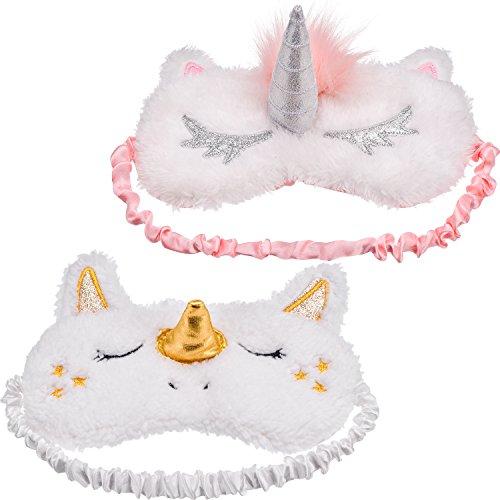 Maxdot 2 Pieces Unicorn Sleeping Mask Cute Unicorn Horn Plush Blindfold Eye Cover (Gold and Pink)