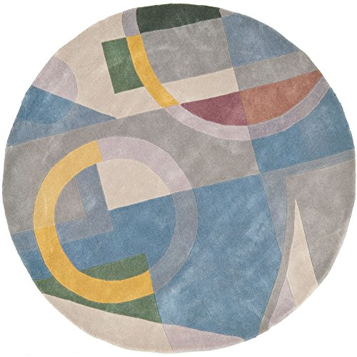Safavieh Rodeo Drive Collection RD845B Handmade Modern Abstract Art Blue and Multi Wool Round Area Rug (5'9