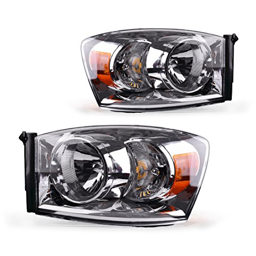 Headlight Assembly for 2006-2008 Dodge Ram 1500 2500 3500 Pickup Replacement Headlamp Driving Light Chromed Housing Amber Reflector Clear Lens,2 Year Warranty (Passenger and Driver Side)