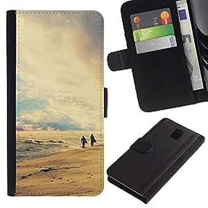 Planetar® Modelo colorido cuero carpeta tirón caso cubierta piel Holster Funda protección Para SAMSUNG Galaxy Note 3 III / N9000 / N9005 ( Nature Retro Beach )