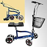 New Age Living Blue Knee Scooter With Basket | Portable Folding Walker Design For Adults | Fully Adjustable To Accomodate Surgery Or Injury