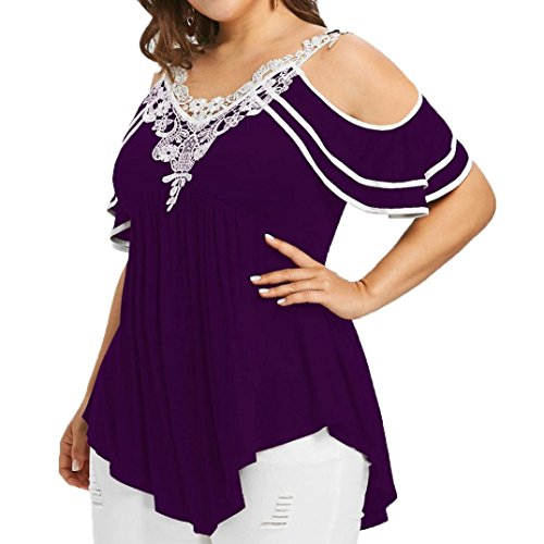 Aniywn Clearance!Women Plus Size Layered Off-Shoulder T-Shirt Lace Applique Short Sleeve V Neck Blouse (Mens Graphic Applique Polos)