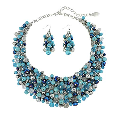 Bocar Fashion Faux Pearl Crystal Chunky Collar Statement Necklace Earring Set for Women Gift (NK-10260-turquoise Blue)