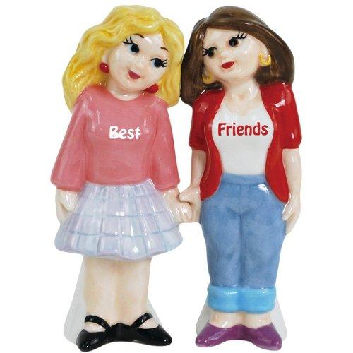 Westland Giftware Magnetic Ceramic Salt and Pepper Shaker Set, Mwah Best Friends, 4-Inch, Set of 2