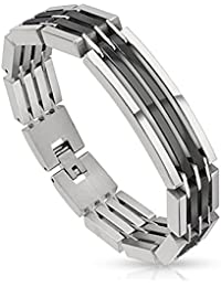"<span class=""a-offscreen"">[Sponsored]</span>Dual Toned Crescent Center Link Black IP Segmented Stainless Steel Bracelet (Sold Ind.)"