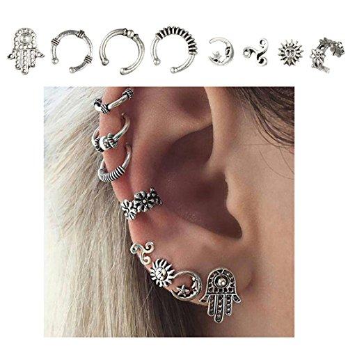 Cuff Earrings Set Ear Crawler Earring Climber Stud Ear Wrap Pin Vine Tribal Charm Vintage Clip On Jewelry Silver Hand Flower Sun Star Swirl