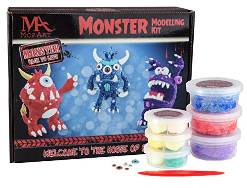 Monster Modeling Set - Monster-Themed Designs - Non-Toxic Super Play Dough Clay Set for Kids - MozArt Supplies (Kids Clay Sculpture)