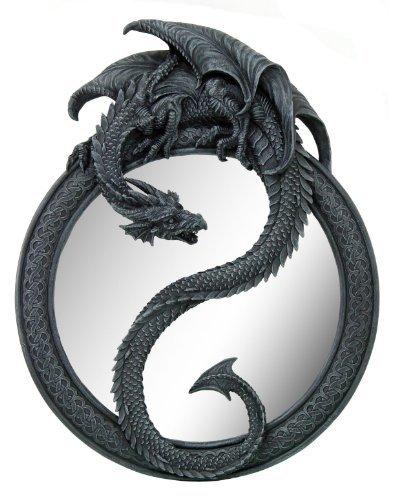 20 Inch Resin Dragon Ying Yang Celtic Wall Hanging Glass Mirror