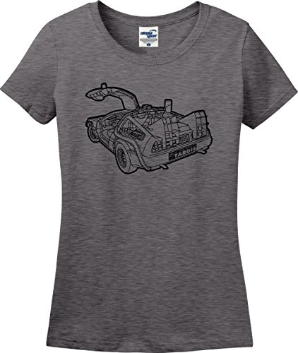 My Other Vehicle Is A Tardis Back To The Future Dr. Who Parody Funny Ladies T-Shirt (S-3X) (Ladies Medium, Graphite Heather) (Delorean Vehicle)