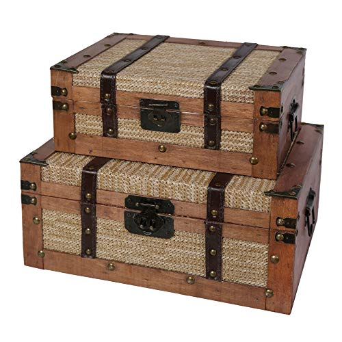 Soul & Lane Benjamin Decorative Wood Suitcase Storage Trunks (Set of 2) | Old-Fashioned Nesting Boxes for Travel Decor Home Decoration Parties
